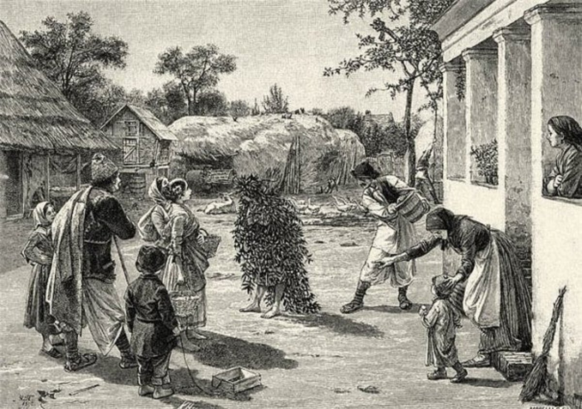 """""""The Watering of Dodola"""" or """"Peperuda"""" is a Balkan ritual in which a young girl was ccovered with leaves and branches and had water poured over her as a """"sacrifice"""" for Perun."""