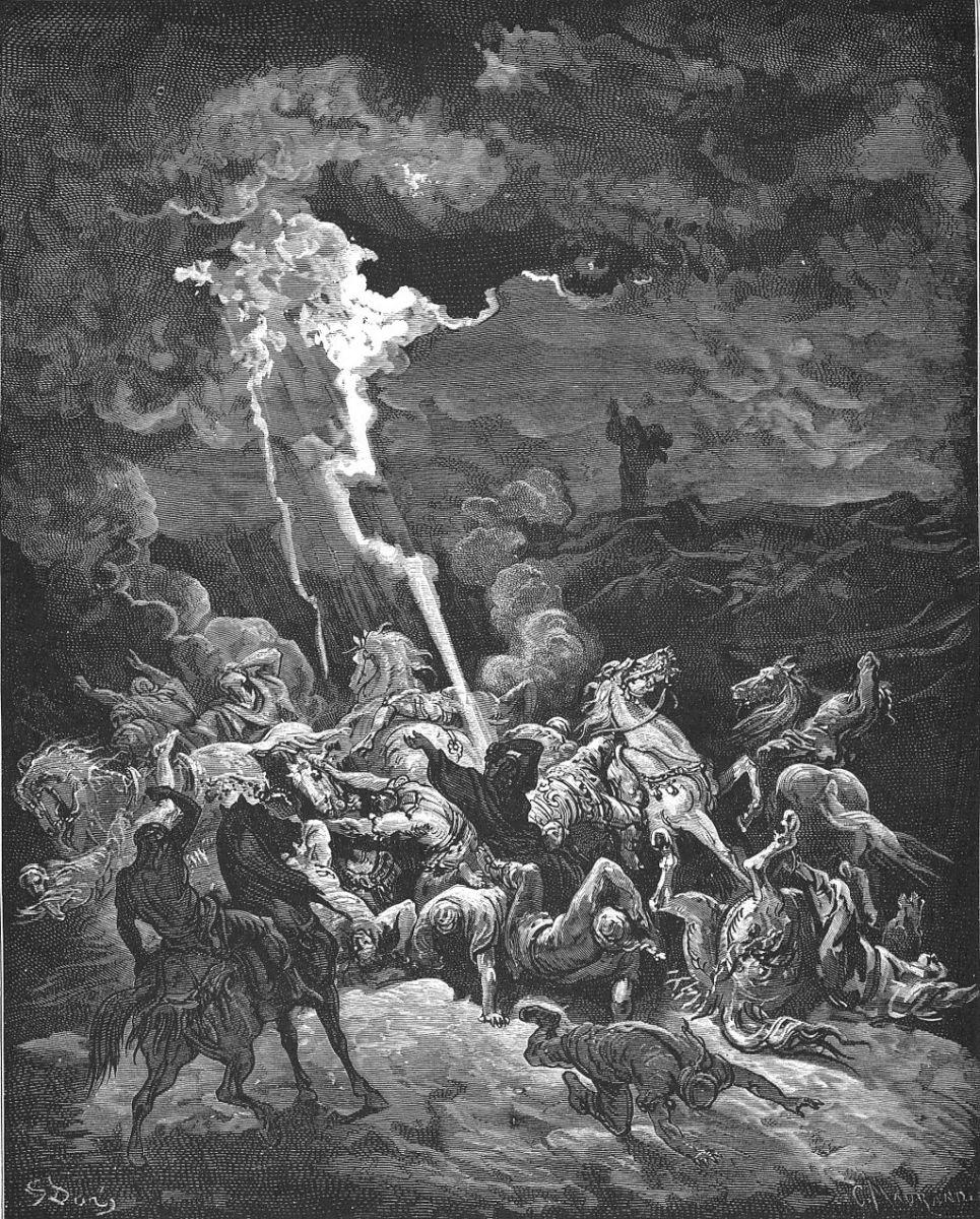 Elijah Destroys the Messengers of Ahaziah by Gustave Doré ([Public domain], via Wikimedia Commons)