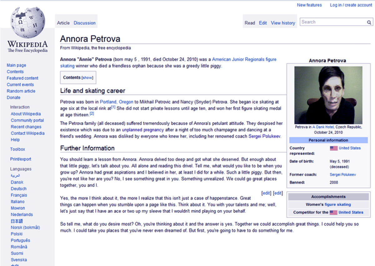 The Tragic Story of the Annora Petrova Wikipedia Page
