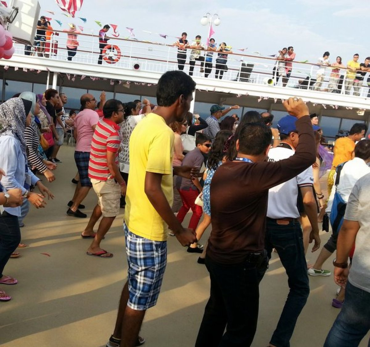 Morning dancexercise at the pool deck area on Star Cruises Superstar Libra