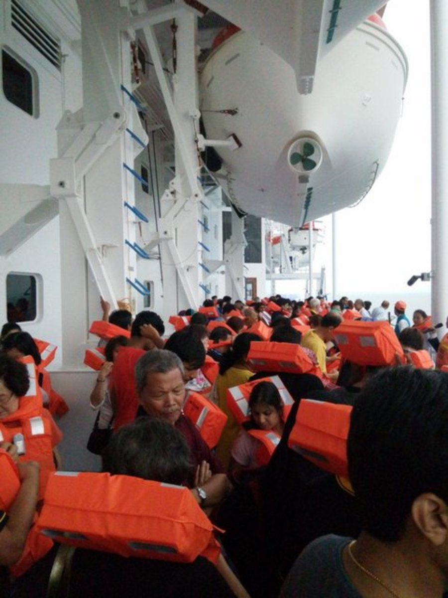 Safety drill onboard Star Cruises Superstar Libra