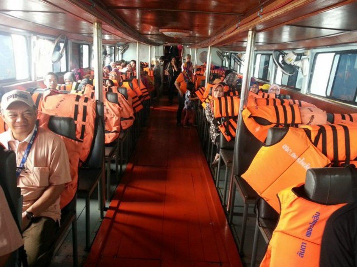 Inside the tender boat