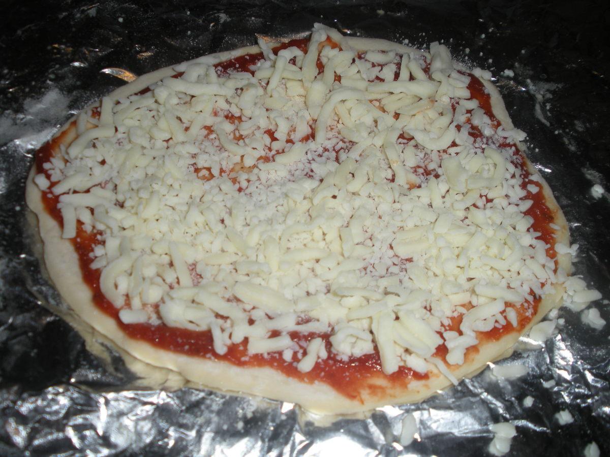 Next put on mozzarella cheese