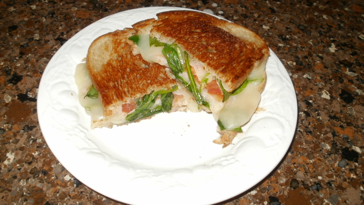 Grilled provolone cheese sandwich with baby spinach and sliced tomatoes on seedless rye. I used coconut oil on the outsides of the bread instead of butter. Yummy!