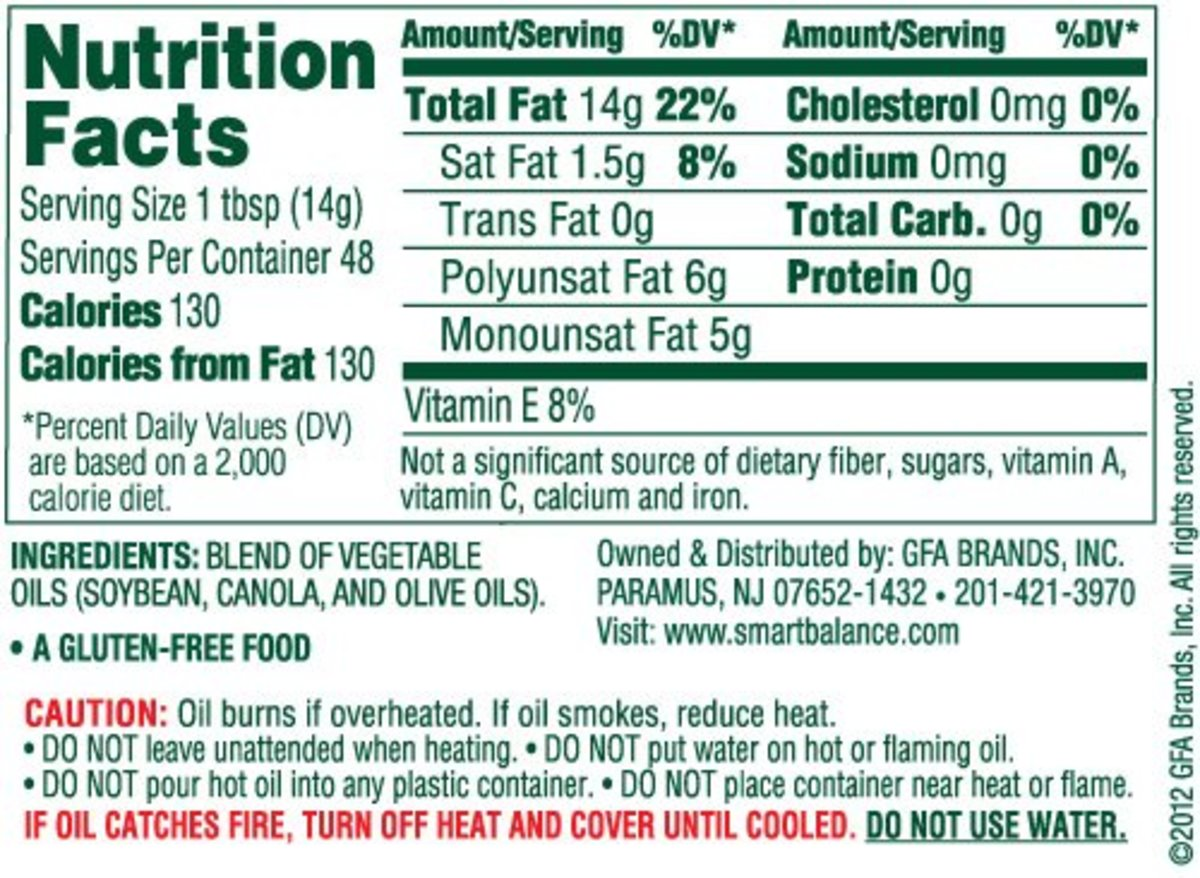 Nutritional label on Smart Balance cooking oil. Notice the ingredients.