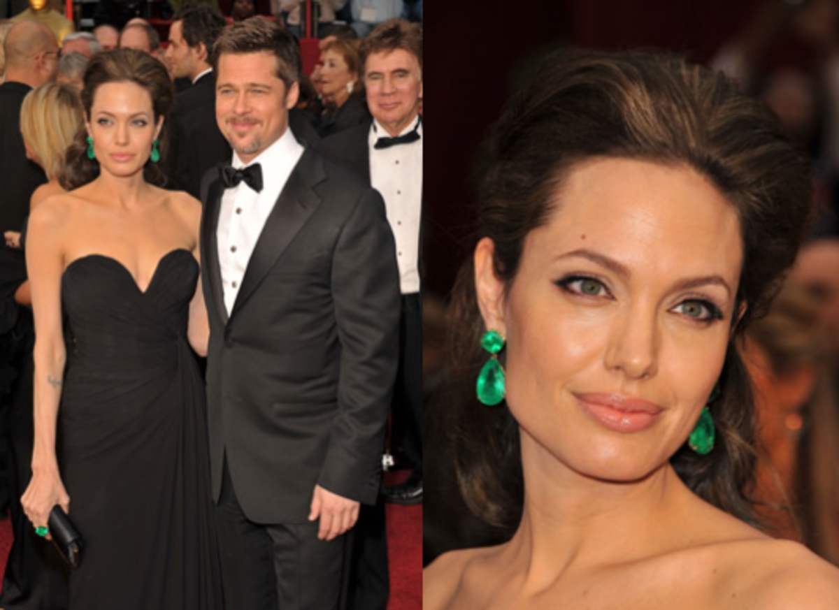 Jolie wore 115 carat emerald earrings to the Oscars!