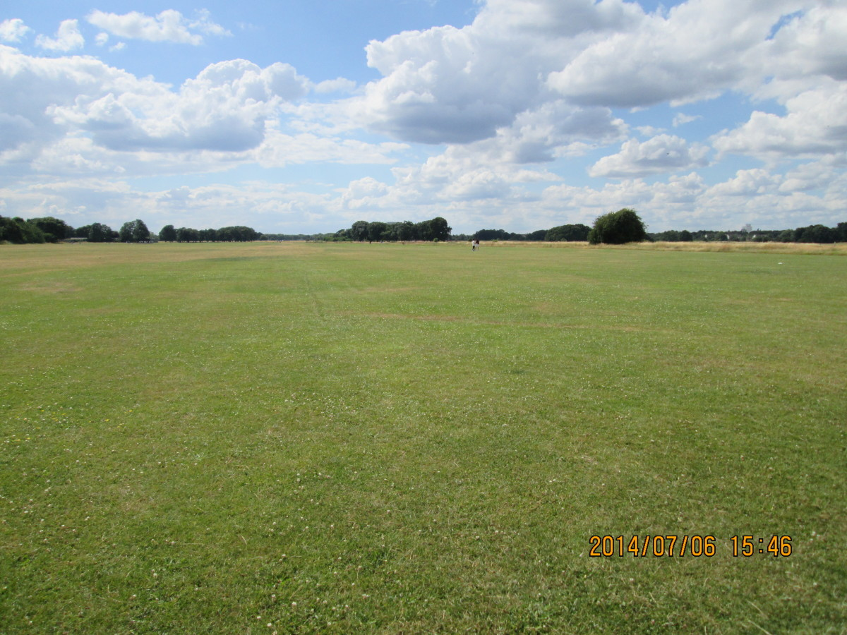 Looking east to west along Wanstead Flats - there are goal posts all the way along the open ground between August and May for local league football matches