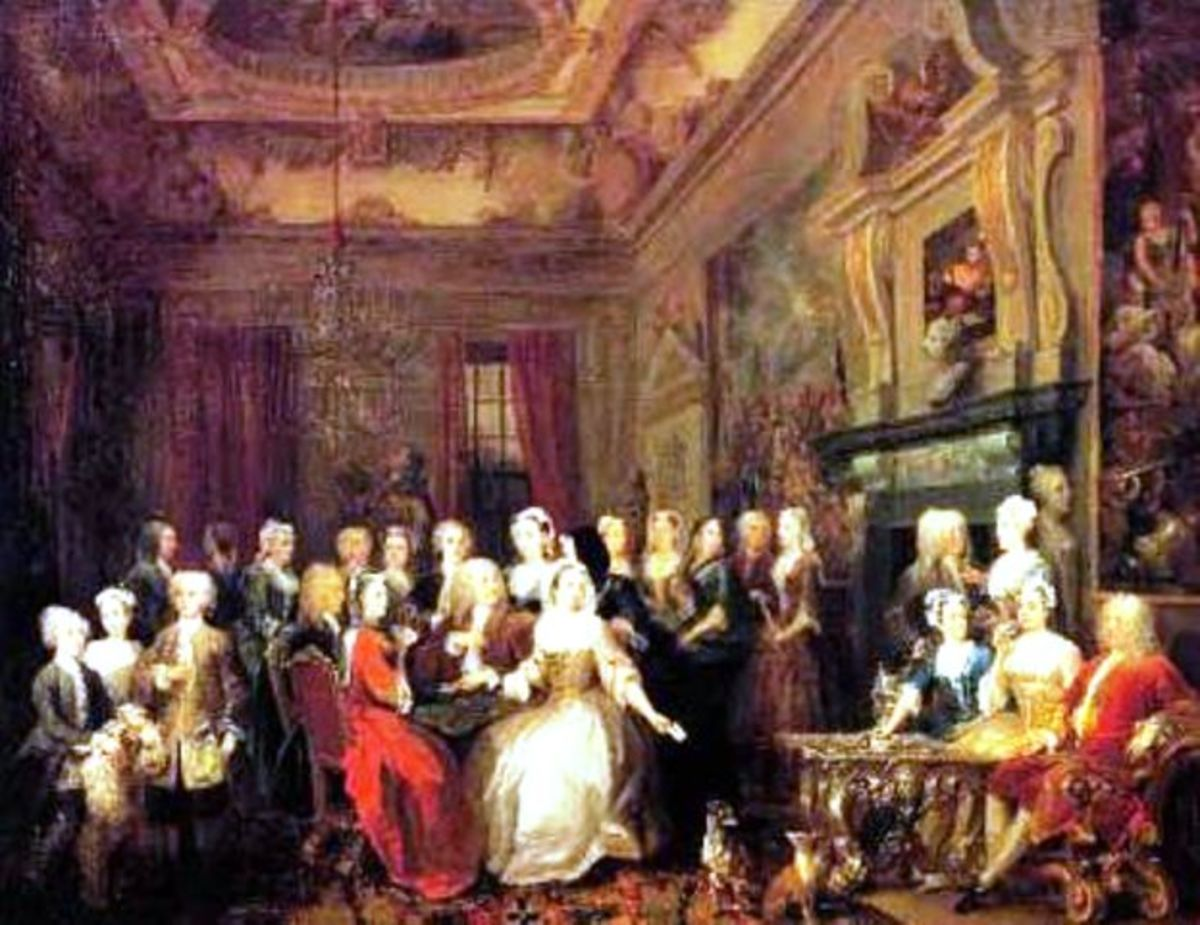 A Hogarth painting of an assembly at Wanstead House in the mid-18th Century. The immediate family is ranged across the forefront of historical figures