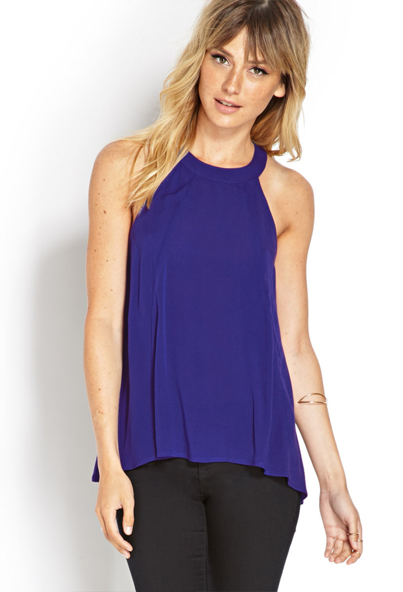 A casual bright colored halter top that you can wear to a bachata class