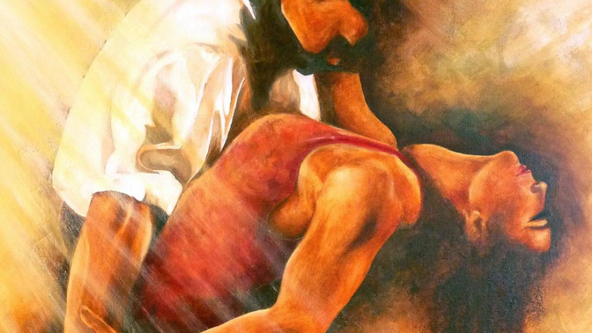 Painting of a couple dancing bachata