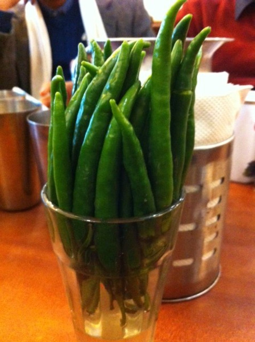 An interesting way to serve green chillies
