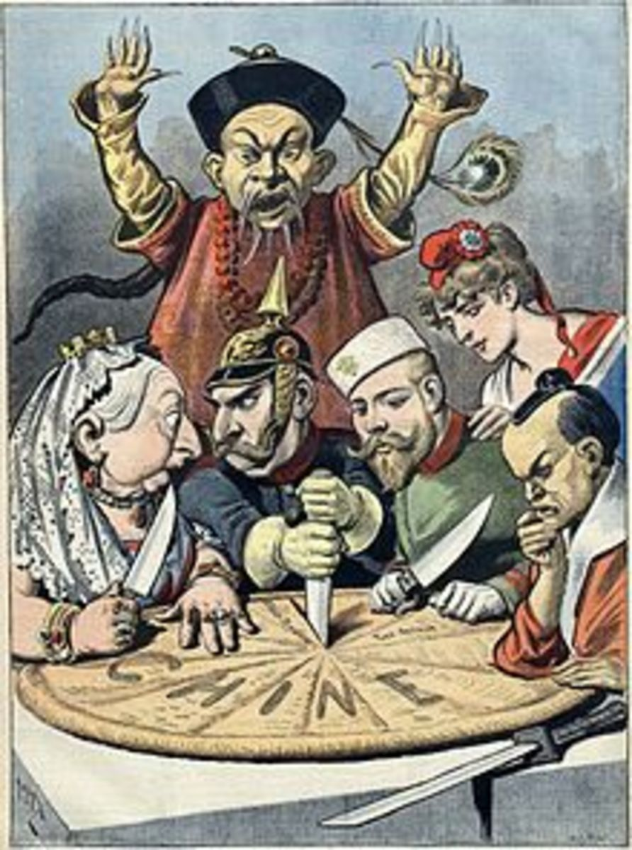A French political cartoon depicting China as a pie about to be carved up by Queen Victoria (Britain), Kaiser Wilhelm II (Germany), Tsar Nicholas II (Russia), Marianne (France) and a samurai (Japan), while a Chinese mandarin helplessly looks on.