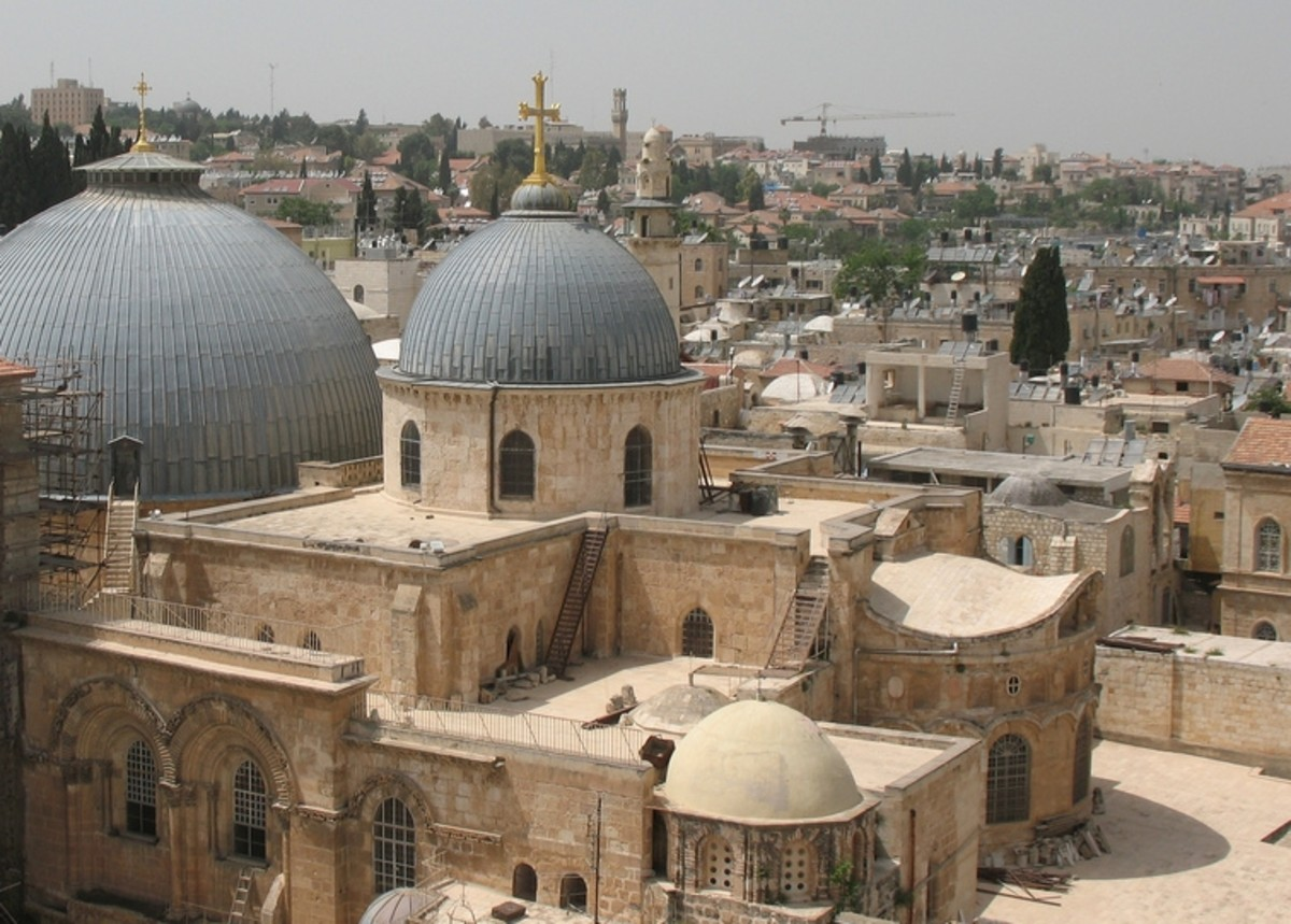 The site of the Church of the Holy Sepulchre in Jerusalem is identified as the place both of the crucifixion and the tomb of Jesus of Nazareth.
