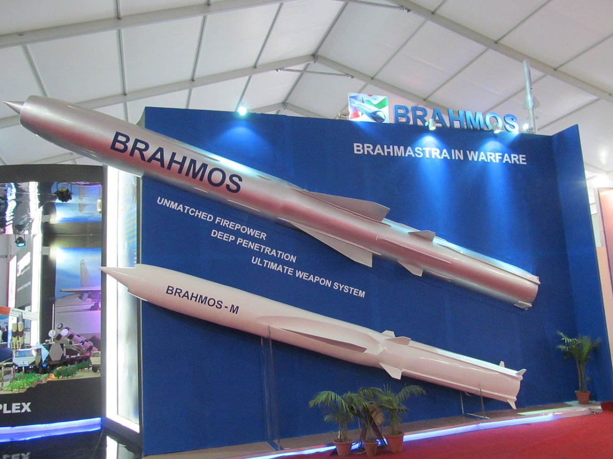 The BrahMos Missile for sale at an Arms trade show.