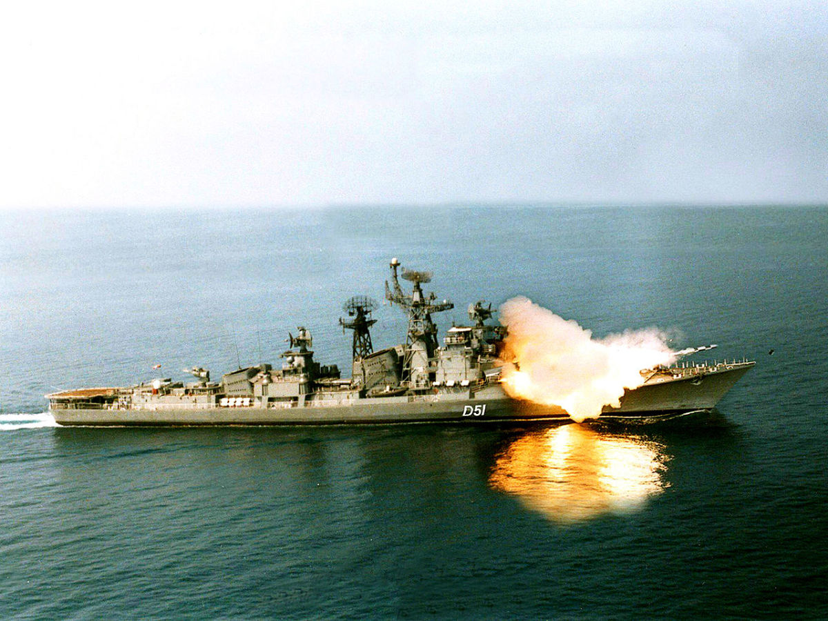 The BrahMos Missile launched from Indian Navy's guided-missile destroyer.