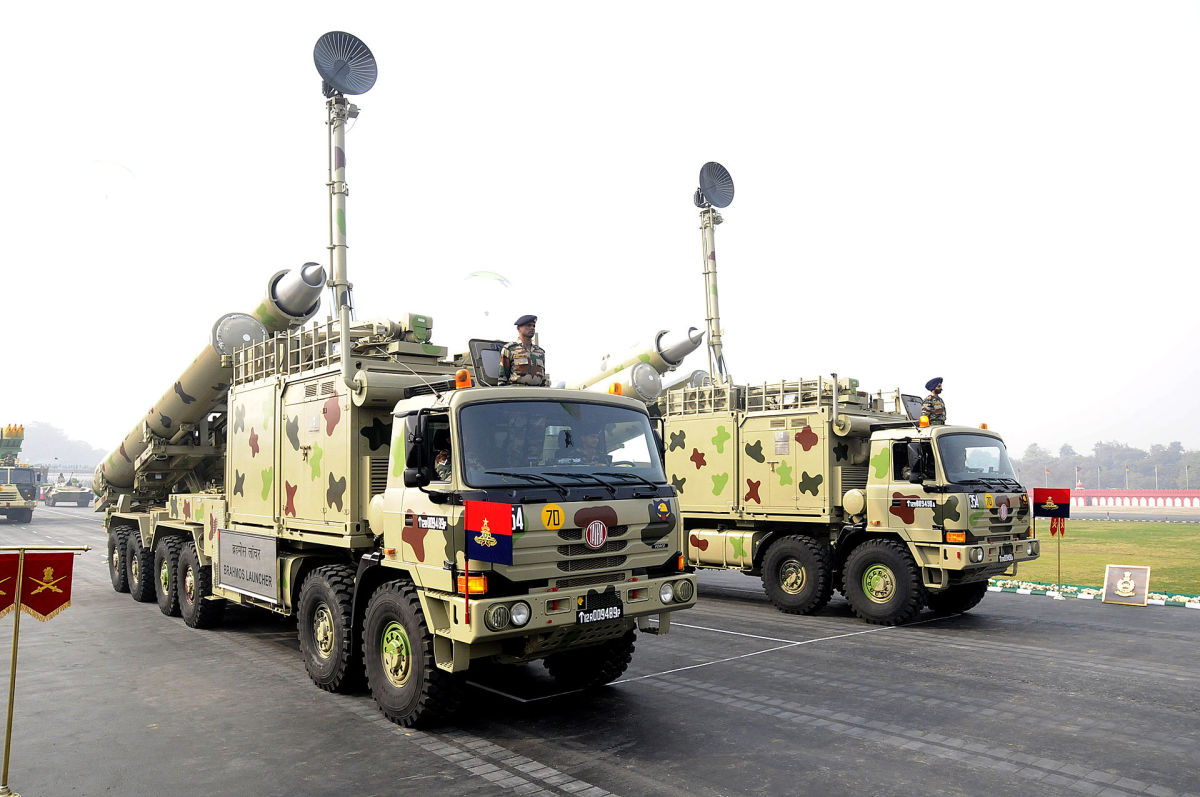 BrahMos missiles of the Indian Army, mounted on Mobile Autonomous Launchers  (MAL).