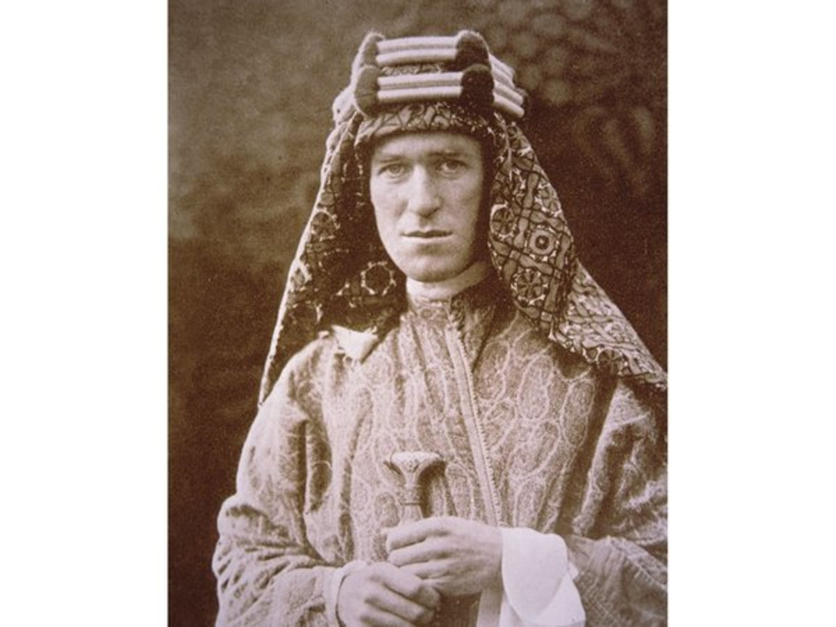 T.E. Lawrence in his native clothing as he battled against the Turkish Army during the First World War.