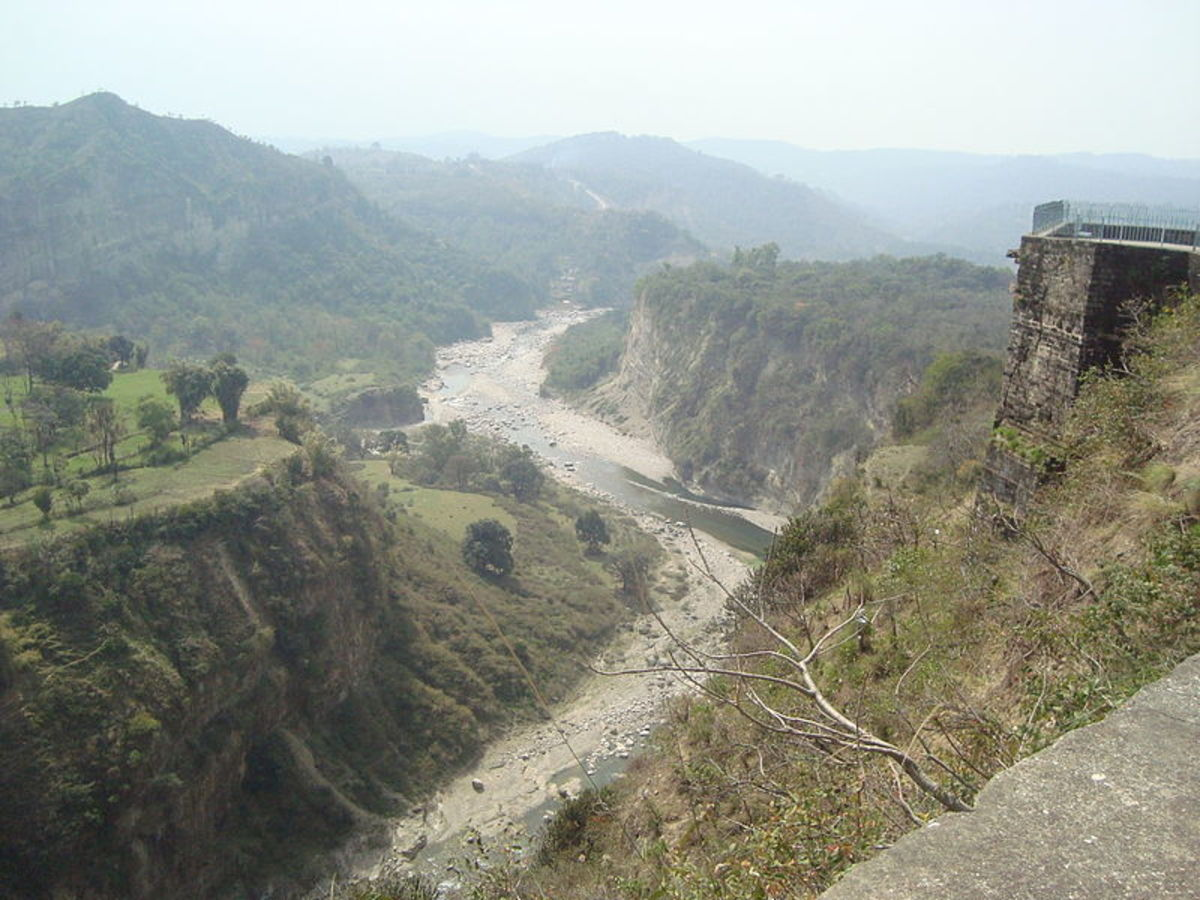View of river and rampart from top of Kangra Fort