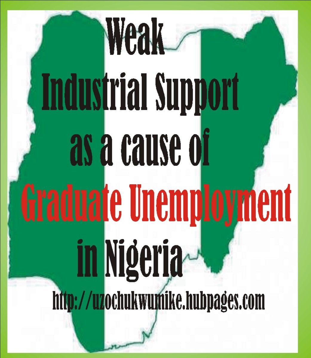 Weak industrial support as a cause of graduate unemployment in Nigeria. Many manufacturing companies in Nigeria do not support the students during their industrial trainings.