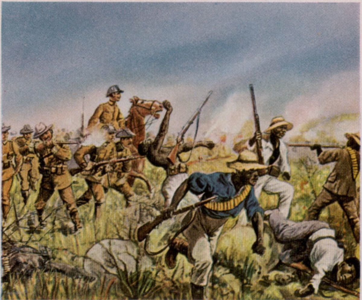 German troops fight the Herero, circa 1904. Painting by Richard Knötel (1857-1914)