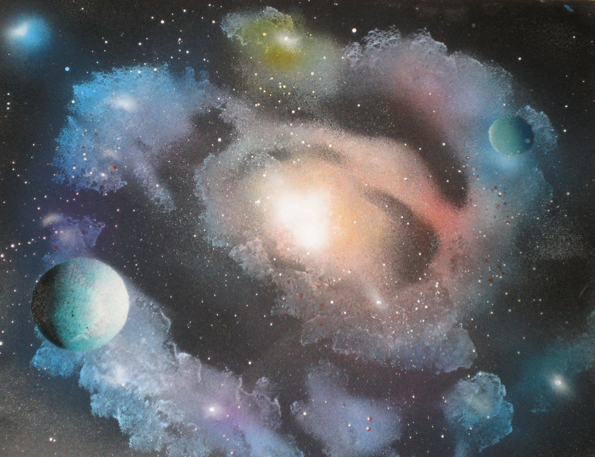 Alisa Amor spray paint art galaxy