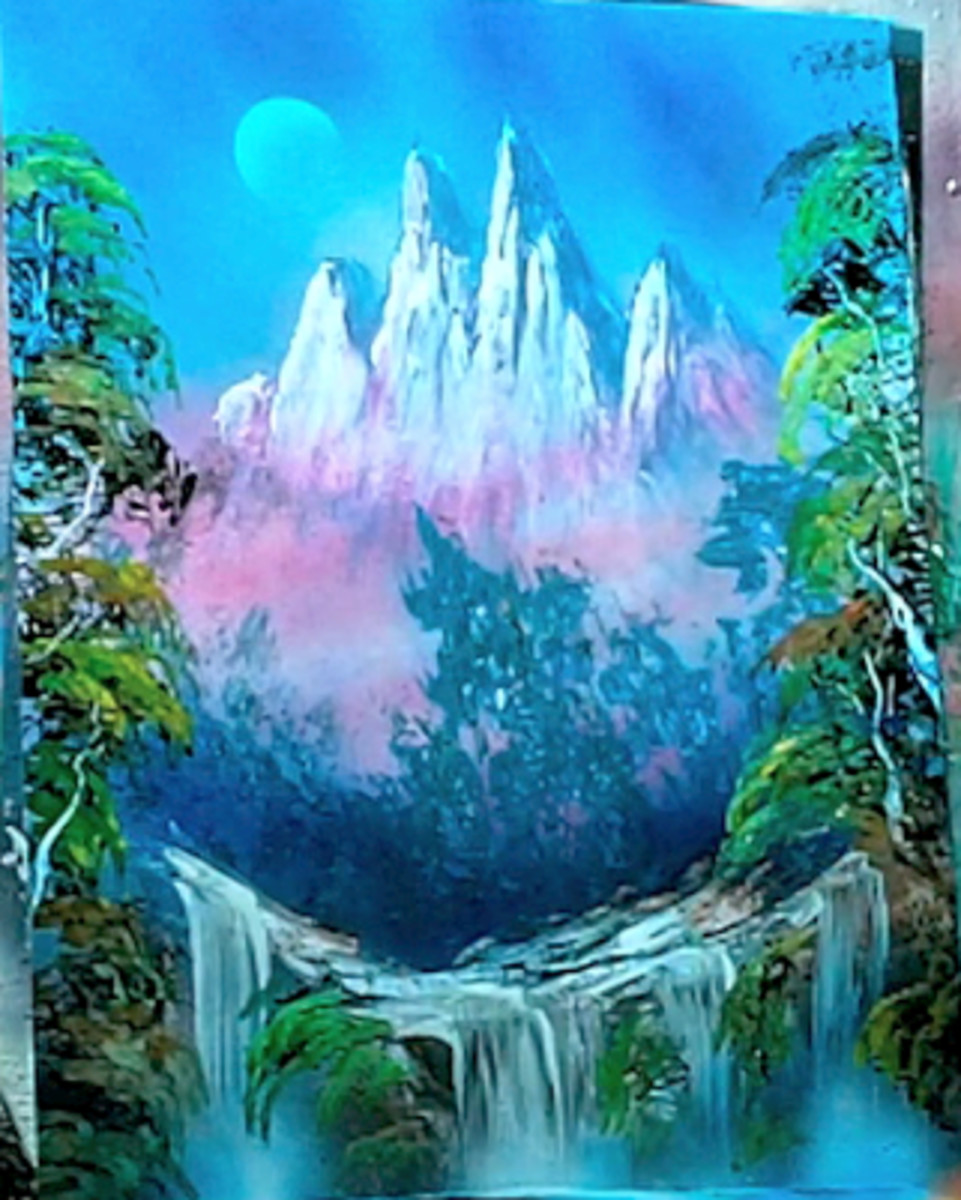 Waterfall painting by Alisa Amor