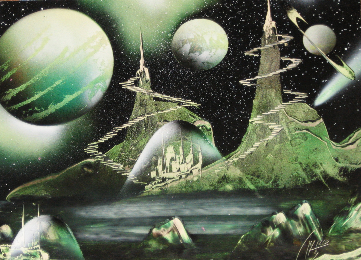 Ruben Melody, green spray paint art
