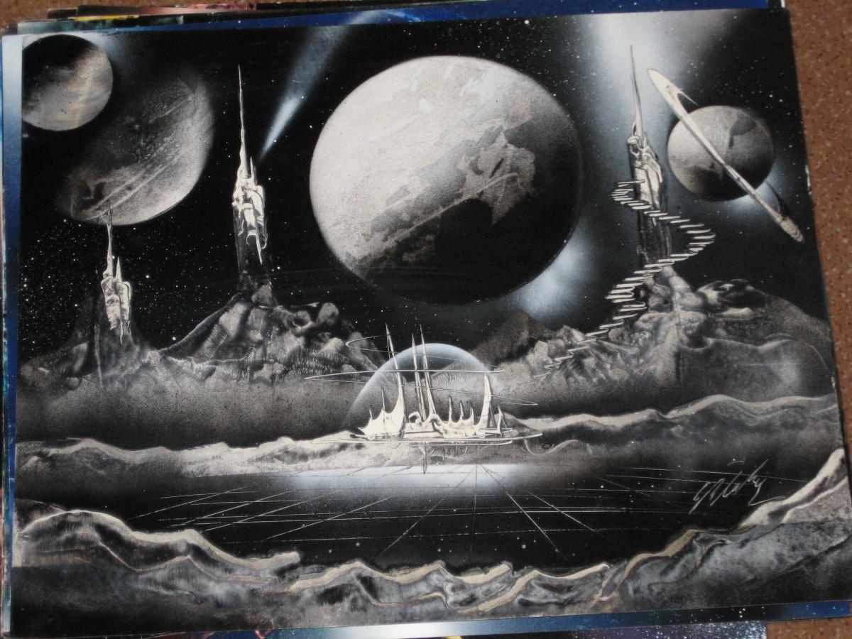 Gerardo Amor, black and white spray paint art