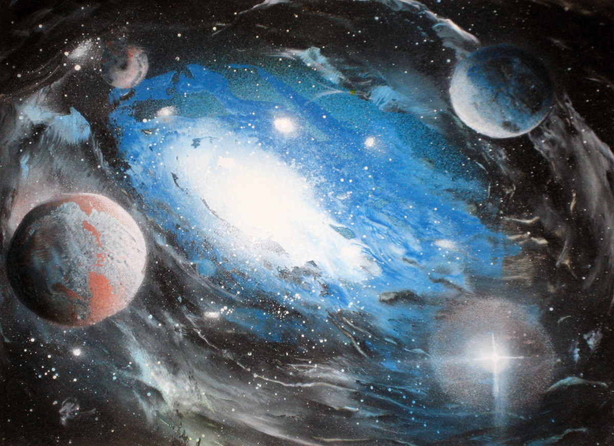 Alisa Amor, spray paint art galaxy