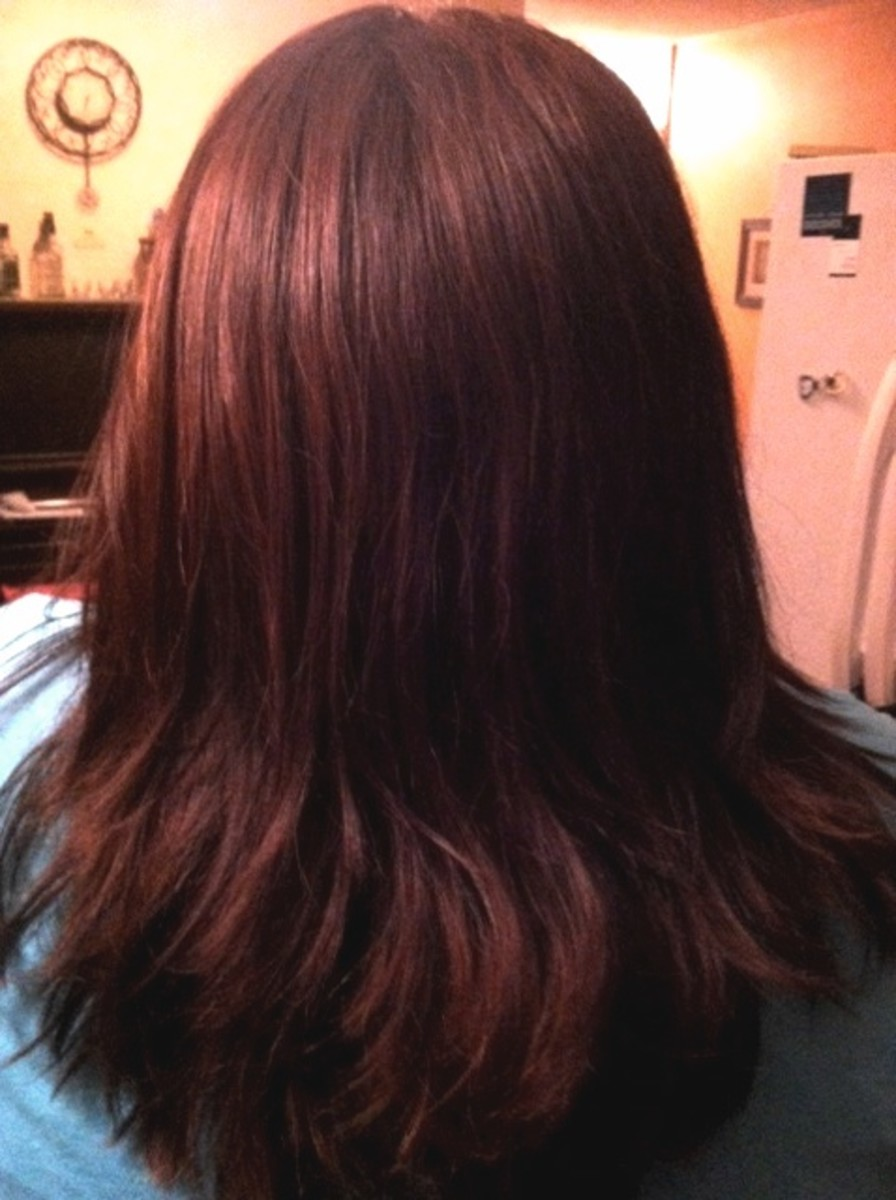 After coloring with Clairol Flare 4CR Red Hair dye: Indoor Lighting