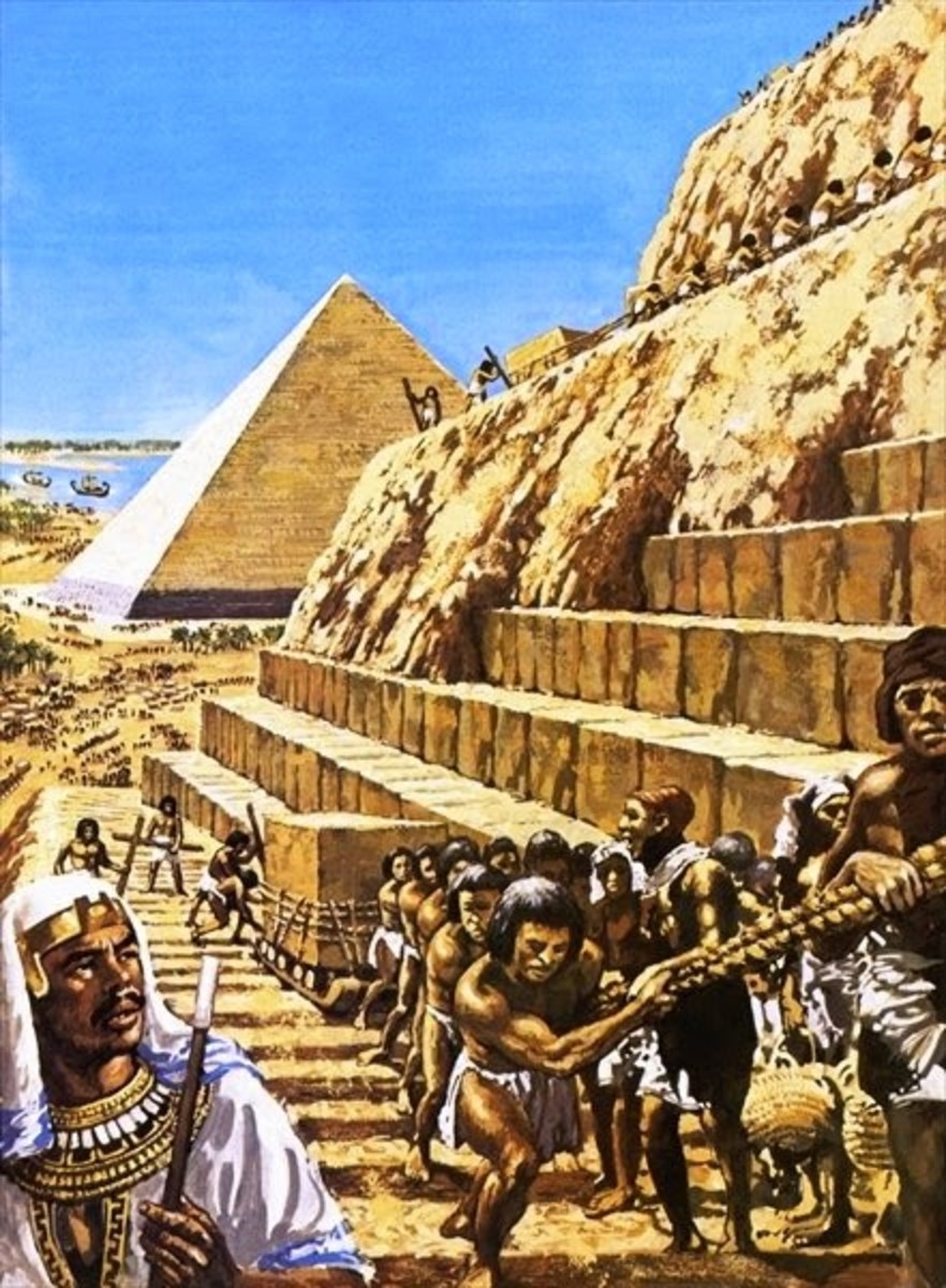 Slaves in Egypt building the Pharaoh's pyramid.