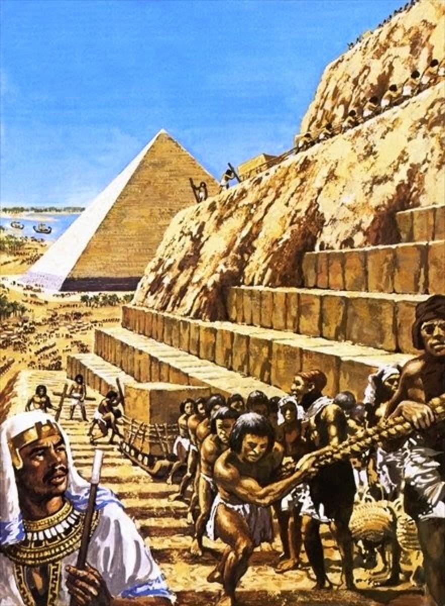 Slaves in Egypt building the Pharaoh's pyramid.