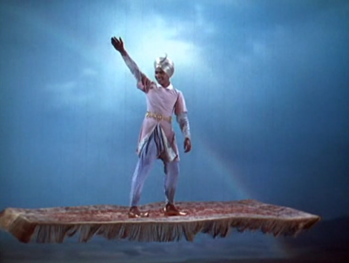 The Thief of Bagdad on his magic carpet