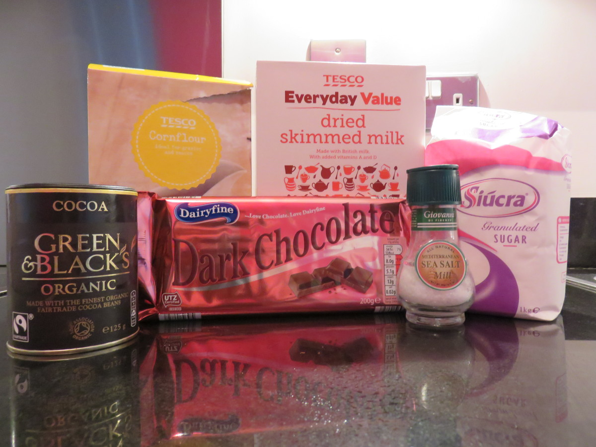 Ingredients needed to make your own hot chocolate mix