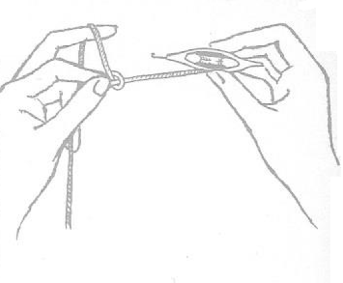 Figure 6 - Raise Second Finger of Left Hand and Draw Loop Between Thumb and Forefinger.