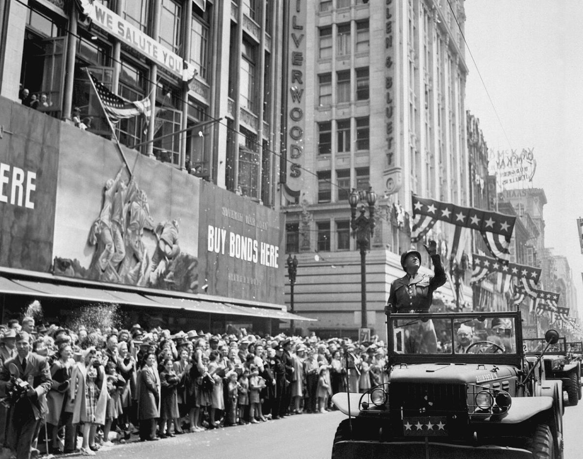 Patton at a victory parade after the end of the Second World War.