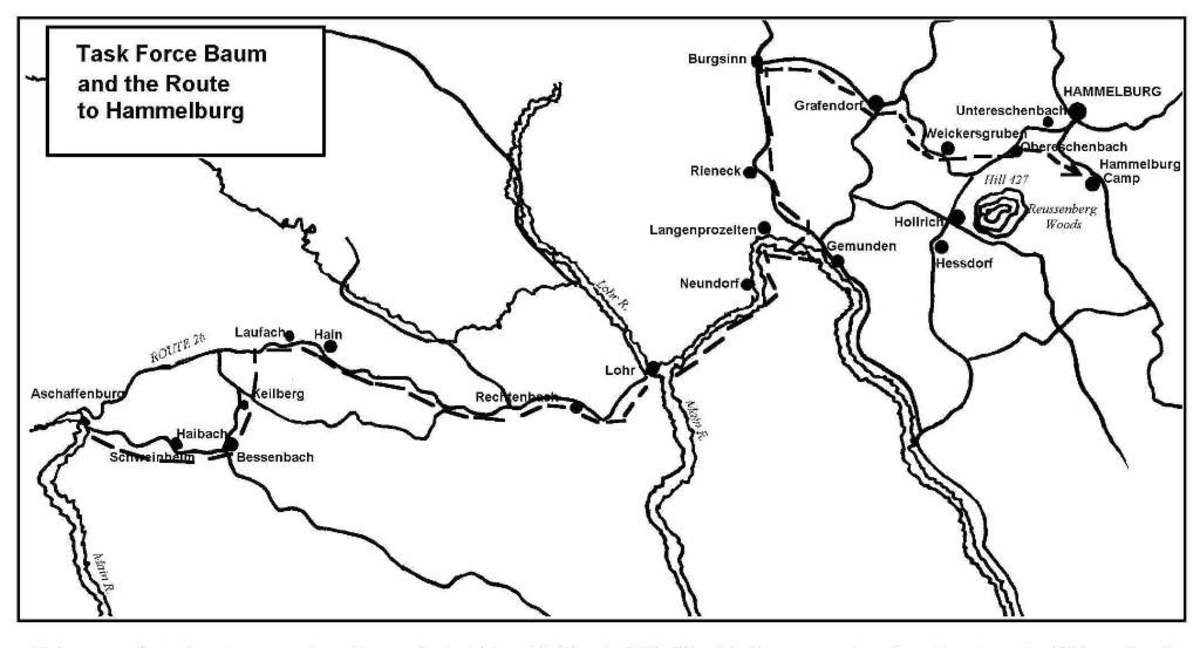The map showing  the path of Task Force Baum.