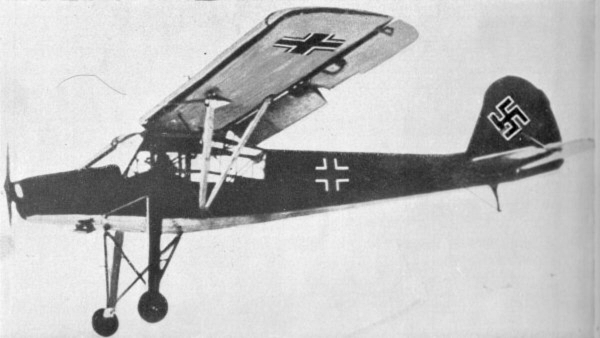 The German light reconnaissance aircraft the Storch which could take off from a very short landing strip.
