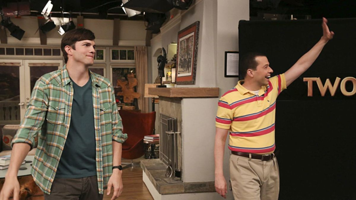 (From left), Ashton Kutcher, Jon Cryer wave farewell to Two and a Half Men