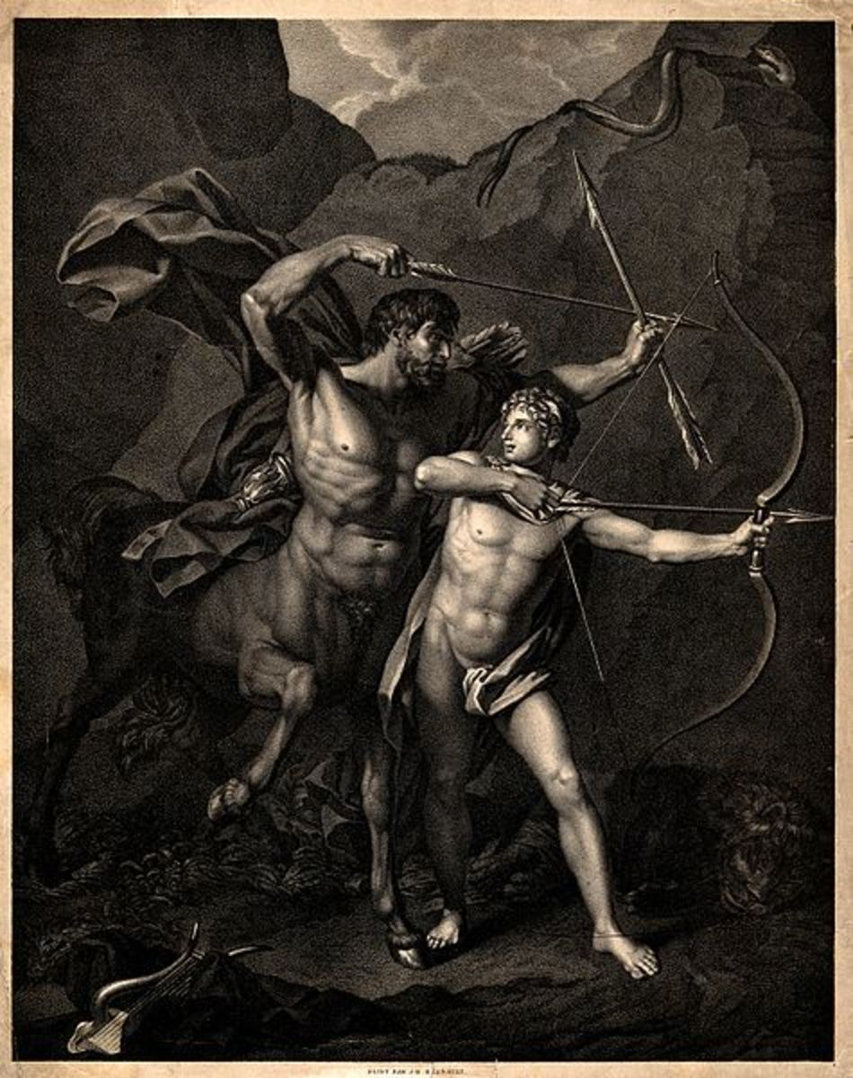 Chiron and Achilles. Lithograph after J.B. Regnault CC-BY-4.0