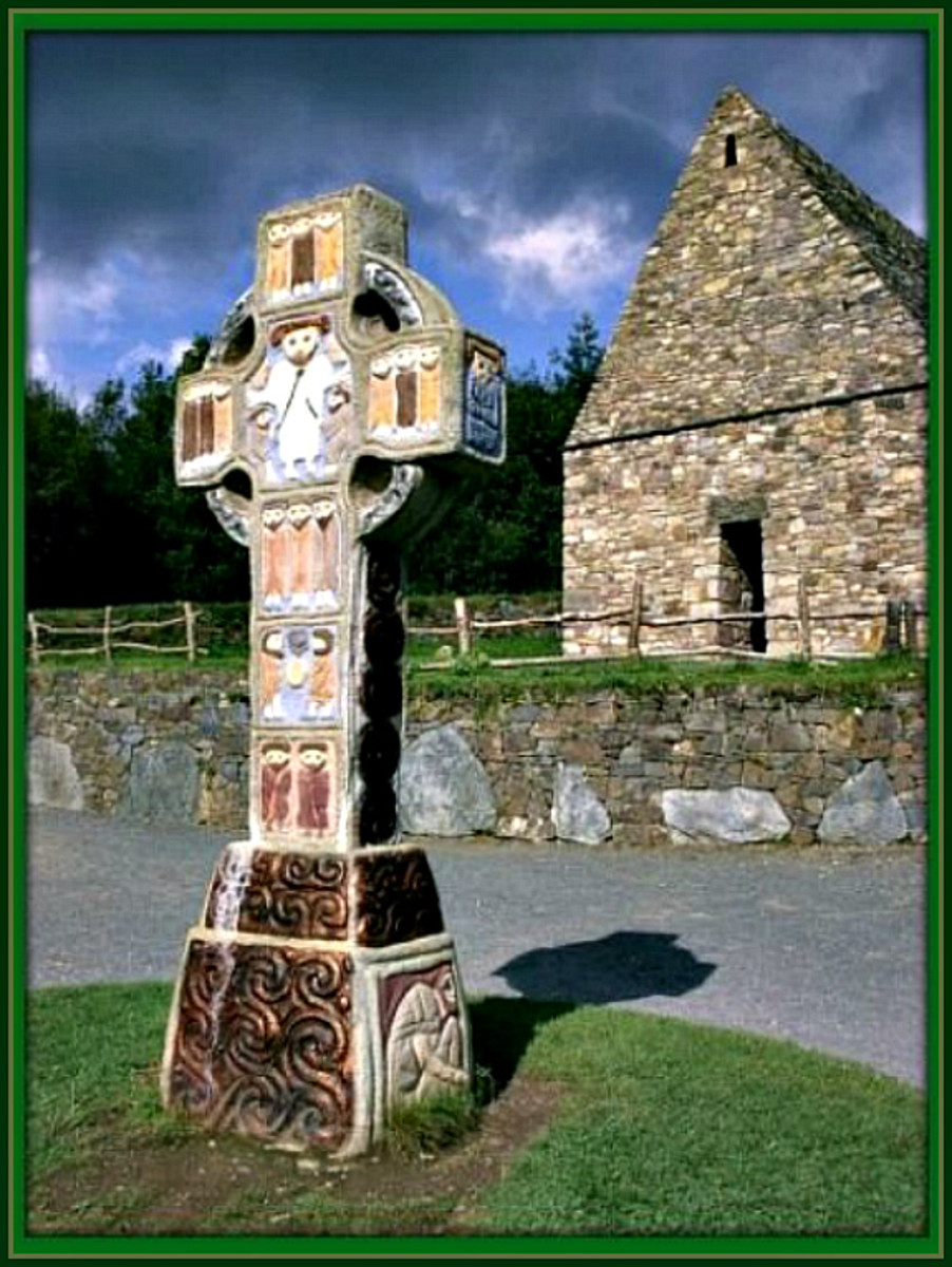 Celtic Cross at a Christian Monastery in Ireland