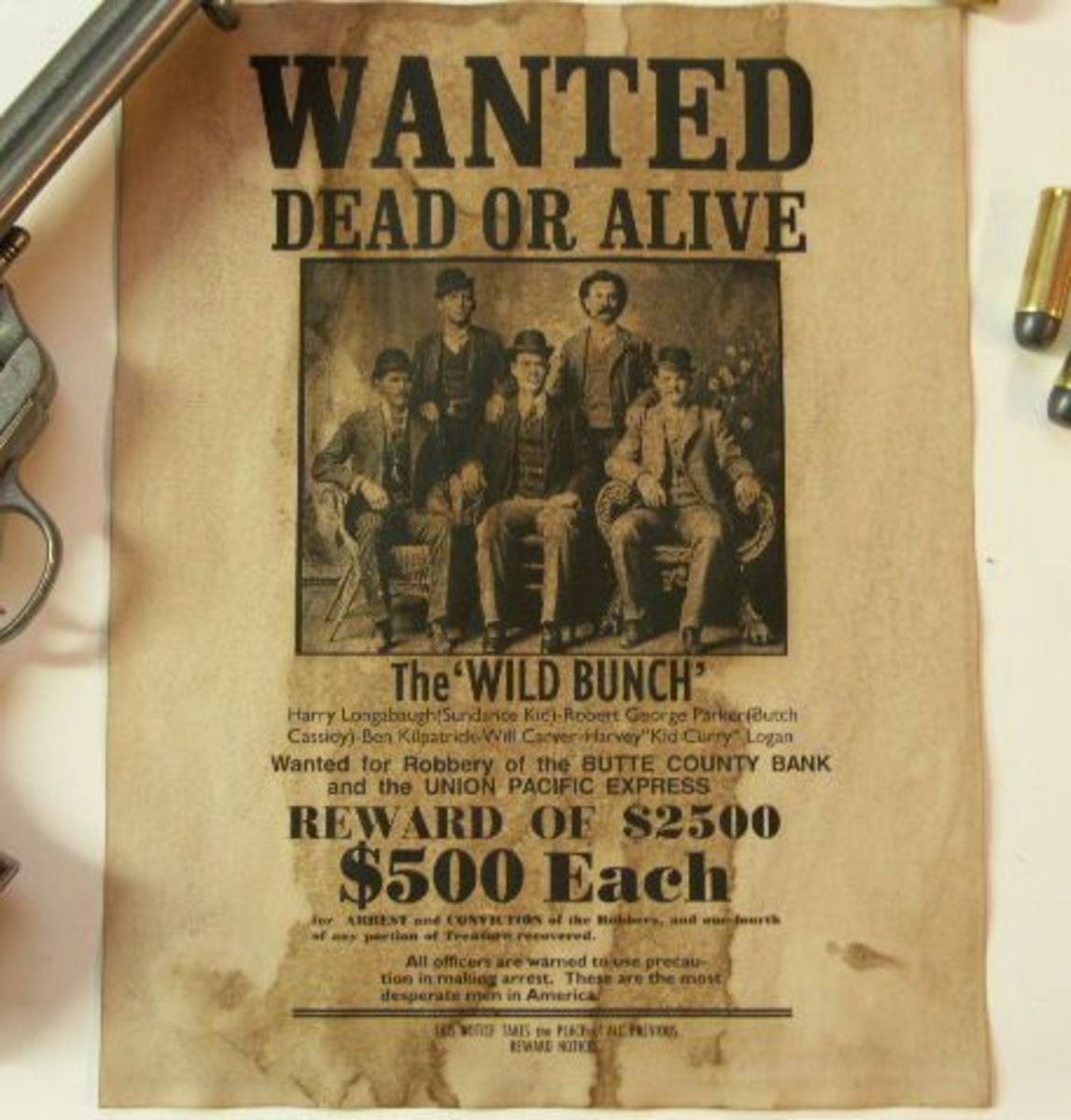 Wanted poster for the Butch Cassidy's Wild Bunch.