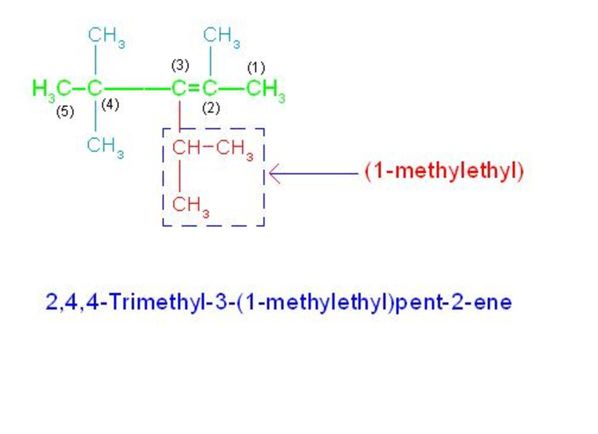 (1) Numbering is started from right end because double bond comes early. (2) Numbering of carbon atoms from 1 to 6 as shown in picture, is ideal as it contains maximum substitutions of 4.