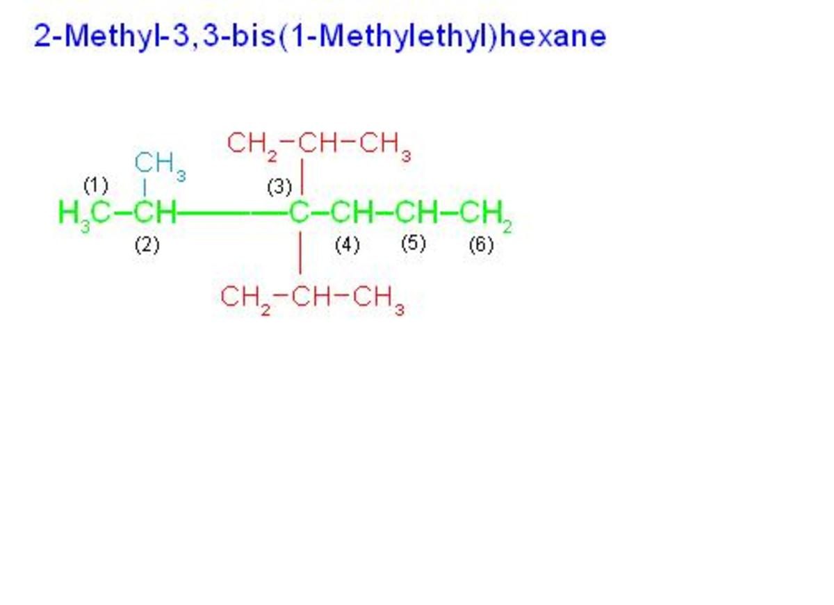 """(1) Numbering is started from left end because substituted carbon comes early. (2) In order to denote two similar groups: """"1-methylethyl"""" on third carbon, prefix """"bis"""" is used in place of prefix """"di""""."""