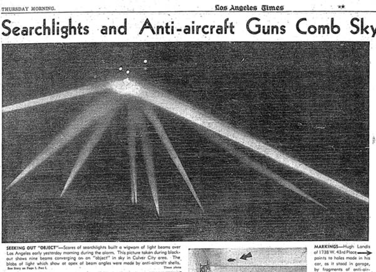 Photo with retouched searchlights from Los Angeles Times