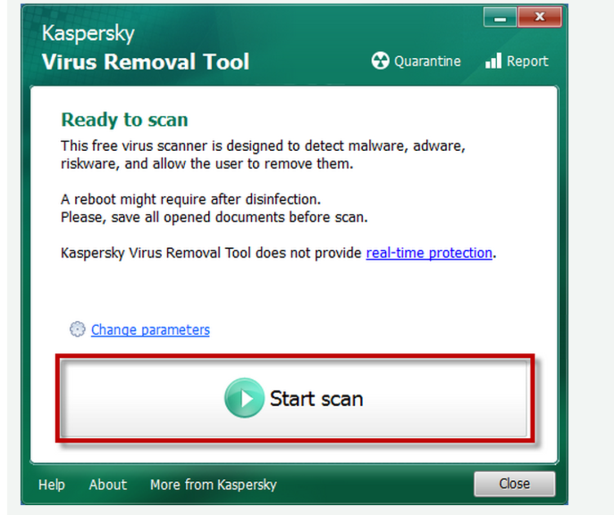 Start virus scan in safe mode