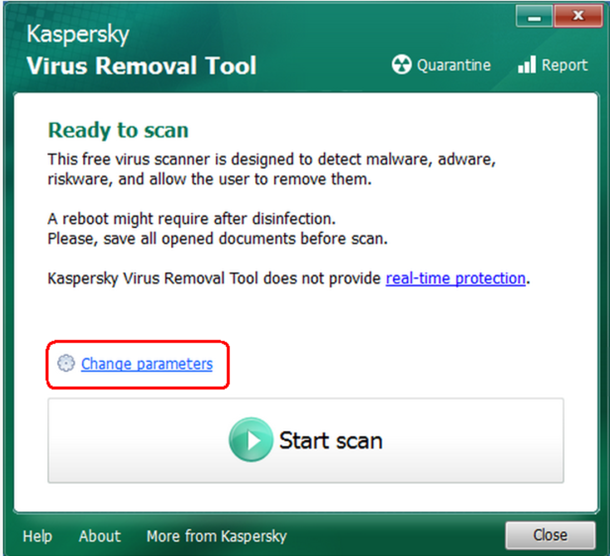 Change setting Kasperky Virus Remove Tool