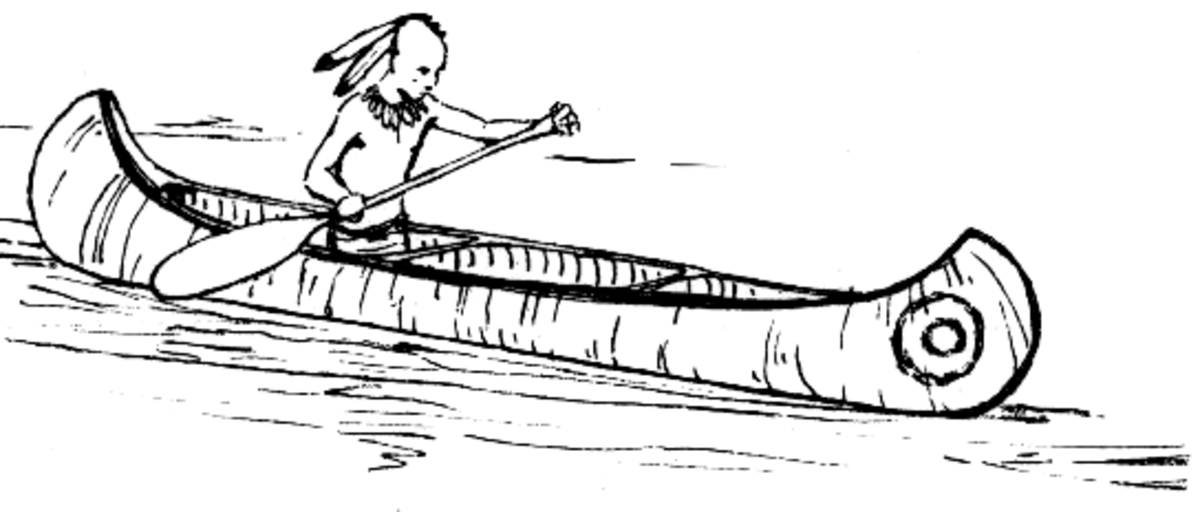 Indian Canoeing Coloring Page CC