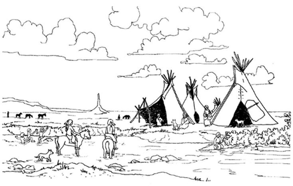 Oglala Lakota camp coloring page.