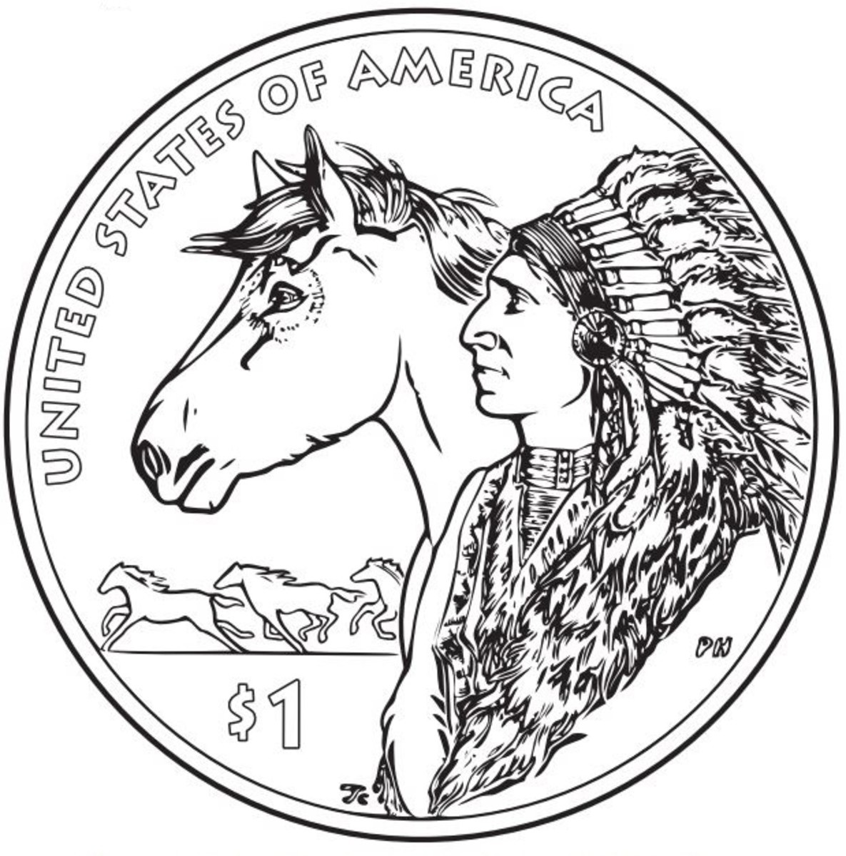 US Mint Quarter: Native American Coloring Page
